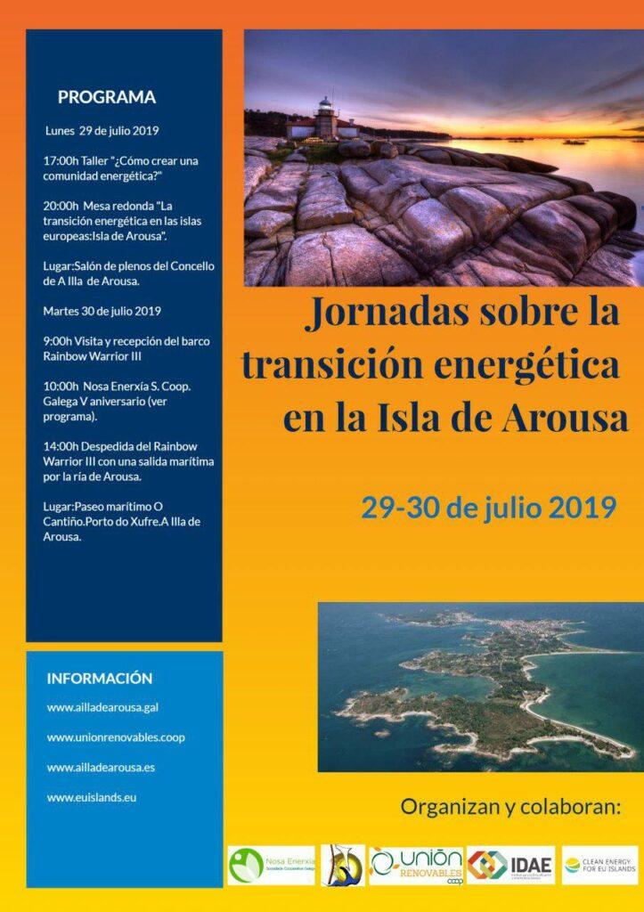 cartel de las jornadas sobre transición energética de la isla de Arousa